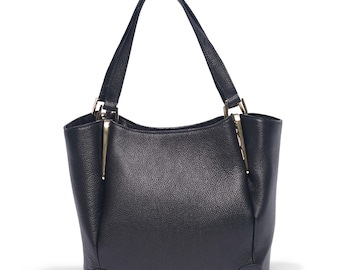 Maxi black handbag, black leather handbag