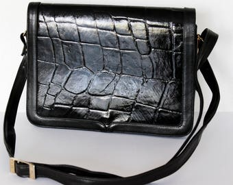 Vintage black bag Kroko Faux patent leather Optic with long handles