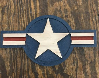 USAF Air Force Roundel - Large - Handmade Solid Maple -Stars and Bars