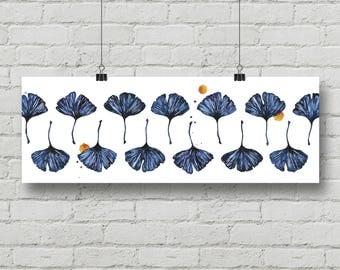 Ginkgo, biloba, plant, tree, leaves, pattern, painting ink & watercolor. Poster 25x70 cm, art print, illustration. Digital print 130 gr.