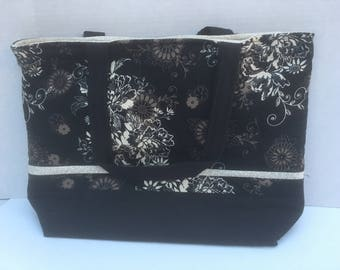 Black and cream  flowers quilted tote
