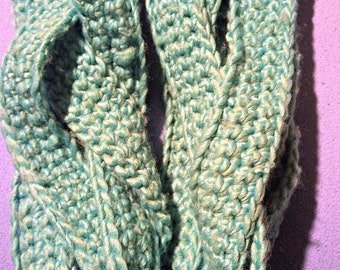 Crochet Braided Infinity Scarf (Turquoise)