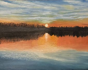 Sunset on the water oil painting
