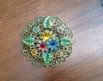 Vintage deco painted floral brooch with stones 1930s