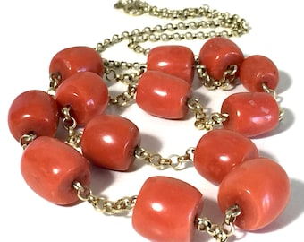 ntique natural large coral beads 11mm-14mm coral necklace in gold