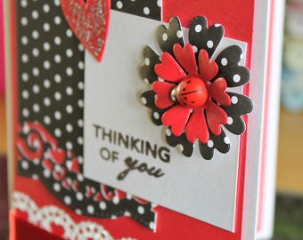 Thinking of you red A6 card