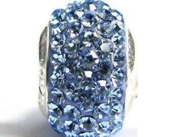 Sterling Silver Blue Rhinestone Charm