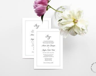Modern Wedding Invitation, Printable Wedding Invitation, Minimal Wedding Invitation, Modern Wedding Invitation Template