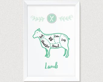 Kitchen Decor, PRINTABLE Art, Butcher Print, Lamb, Kitchen Wall Art, Kitchen Wall Decor, Gift for Cook, Gift for Chef, Gift for Her