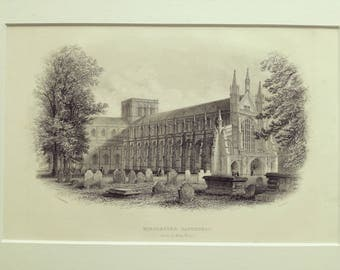 Antique print steel engraving Winchester Cathedral Church Christian religion matted 1880s original excellent condition
