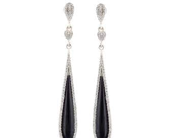 925 Sterling Silver Long Dangle CZ Pave Setting Black Onyx Crystal Rhinestone Earring