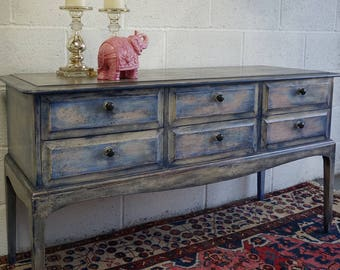 Console Table with 6 Drawers with Annie Sloan Chalk Paint and Waxed Painterly Finish