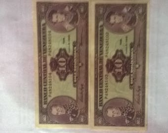 Tickets from 10 bolivars, consecutive series, paper money