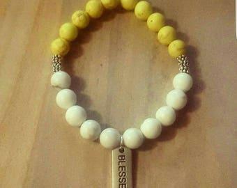Single Yellow Magnesite mixed w/White Howlite bracelet