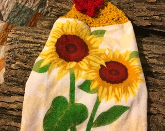 Sunflower crochet towel topper