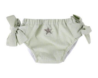 Puuper swim diaper seersucker green white with loop