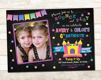 Bounce House Birthday Invitation - Bounce House Birthday Party - Sibling Bounce House Birthday invitation - Double Birthday Party