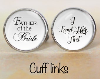 Father of the Bride Cuff Links, Wedding Cufflinks, Bridal Gift, Wedding Keepsake, Dad Cufflinks, Gift for Dad