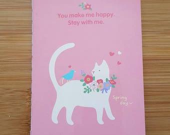 Pink Cat A6 Small Notebook Journal