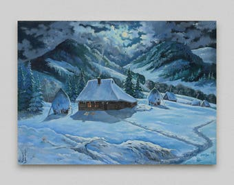 Landscape painting Original painting Oil painting Snow mountains Winter Night mountains Realism Canvas art Original artwork Art