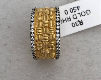 Size 5 Sterling Silver Turkish Weave Ring - Black Rodium Plated - CZ Studded - Women's Jewelry - Gifts for Her