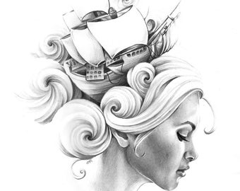 "Giclee Archival Print ""All at Sea"""