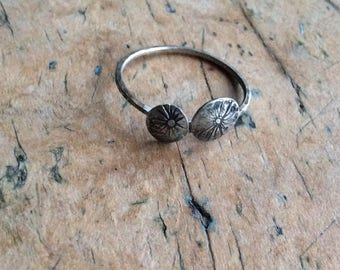 Seed head silver ring, oxidised Reflections silver