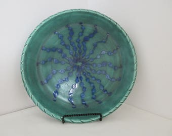 Hand Thrown Ocean Coral Plate with Textured Rim