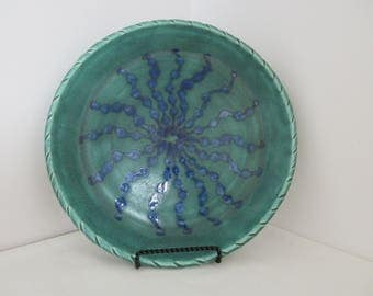 FREE SHIPPING Hand Thrown Ocean Coral Plate with Textured Rim