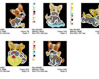 FSL Dogs  Freestanding Lace  Machine Embroidery Designs Instant Download 4x4 hoop 10 designs