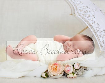 Digital background, scenery, newborn babies, girls, vintage