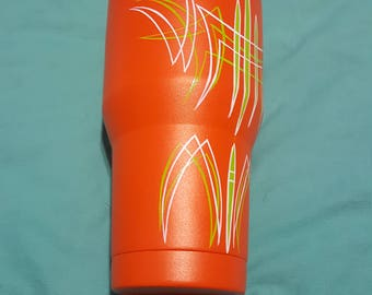 Custom pinstriped ozark trail 30oz stainless tumbler orange