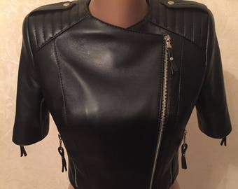 Women's jacket, made of genuine leather