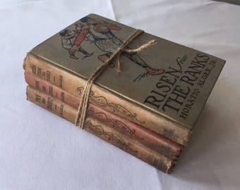 Set of 3 Vintage Books by Horatio Alger, Jr. 1911 Boys' Books Girls' Books Rustic Shabby Books