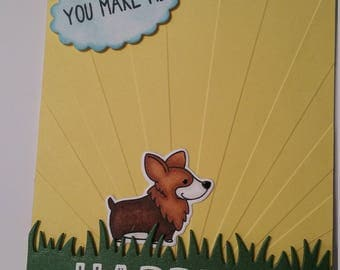 Happier Than a Corgi on Stilts greeting card