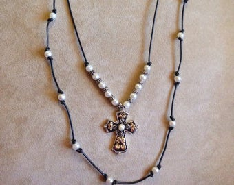 Cross with Black Leather Double Stranded necklace