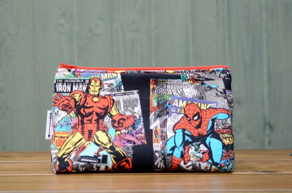 Iron Man and Spiderman Zipped pouch