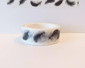 Washi tape - Black Feathers