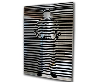 Decorative mirror-banksy decal mirror-acrylic mirror prisoner stencil mirror-home decor-3mm framed acrylic mirror wall art A2 A3 A4 A5