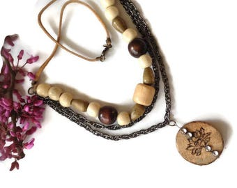 Lotus flower wood necklace,  layered chain necklace, earthy necklace, wood burned pendant, nature inspired , chunky dangle necklace