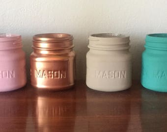 Painted Mason Jar Soy Candle you pick color and fragrance!