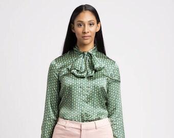 Green printed shirt, Tie neck blouse, silk shirt, work blouse, vintage inspired, boho shirt, retro blouse