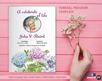 Funeral Program Template | Printable Funeral Program | Memorial Obituary Template | Microsoft Word and Photoshop Template | Instant Download