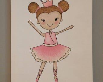 Brooklyn the Ballerina- Custom Nursery Art, Baby Nursery Wall Decor, Baby Nursery Art, Ballerina Art, Ballerina Decor, Pink Nursery