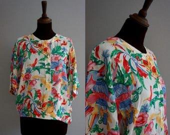 Tropical Floral Top / Vintage Blouse