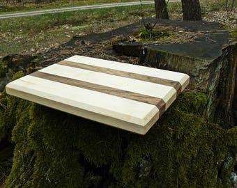 Wood Cutting Board, Walnut & Maple, Serving Tray, Butcher Block
