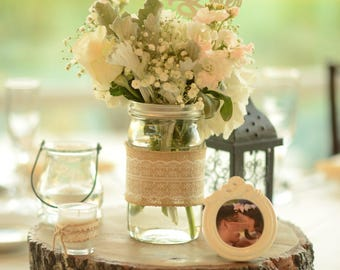 Rustic Mason Jar Centerpiece with White Lace Burlap and Optional Twine Bow-Set of 8 Mason Jars