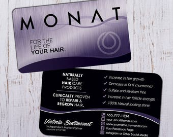 Monat Business Cards - Silver Purple Design with Black Back - Durable 16pt - Rich Matte Finish -PRINTED and SHIPPED directly to YOU!