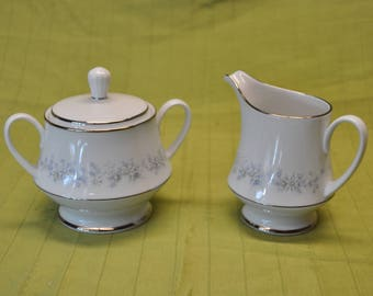 Contemporary Fine China by Noritake - Marywood 2181 Sugar Bowl and Creamer Cup