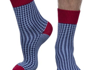 Cross men's luxury crew sock in navy | Made in England for seriouslysillysocks